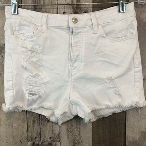 White Destroyed Denim Shorts by Vervet